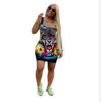 america sexy curto venda por atacado-Vestido Ms Europa e América Explosão Tiger head impressão moda vestido Night club Sexy Slim fit saia Curta novo estilo