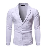 ingrosso chemise sexy vestito-Shirt vestito collare uomo sexy profonda V Bianco da uomo 2019 Brand New Slim Sleeve Fit lungo abito da sposa camice del Mens Chemise Homme