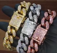 homens prata pulseira cubano link venda por atacado-12 MM 6/7/8/9/10 polegadas Homens Zircon Miami Cubano Elo Da Cadeia Pulseira de Corrente De Ouro Rosegold Grosso Pesado CZ Hiphop Jóias