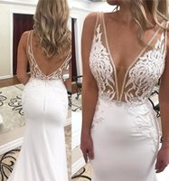 Wholesale new see through skirts for sale - Group buy 2020 Sexy New Sheer V Neck Mermaid Wedding Dresses See Through D Lace Floral Applique Bridal Dress Plus Size Backless Wedding Gowns