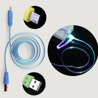 Wholesale smiling face cable online – Lighting USB Cables M Micro USB Date Cable for Samusng HTC i5 i6 i7 Mobile Phone LED Luminous Smile Face charger cable DHL CAB218