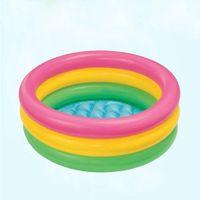 ingrosso nuotata gonfiabile-Toddler Baby Bambini Kids Rainbow Round Piscina gonfiabile Summer Easy Set Pool Set con filtro PumpFF4