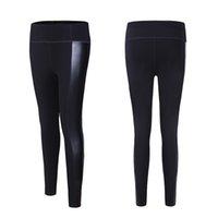 ingrosso pantaloni in spandex in pelle-Leggings sportivi da allenamento neri Leggings sportivi da palestra push-up in pelle PU per donna
