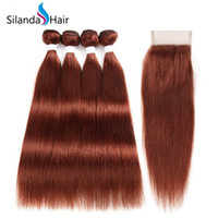 pelo humano remy brasileño 33 al por mayor-Silanda Hair Cheap # 33 Straight Remy Brasileño Cabello humano Tramas Bundles Tejiendo 3 Tejidos con cierre de encaje 4x4 Envío gratis