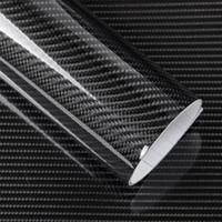 ingrosso adesivo avvolgente nero lucido-5D 12 colori in fibra di carbonio pellicola dell'involucro del vinile autoadesivo dell'automobile lucida del camion del motociclo avvolgere rotolo accessori auto decorazione impermeabile nero 50 * 200 cm
