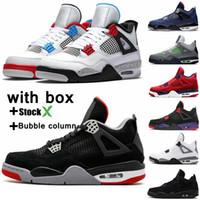 serin erkekler basketbol ayakkabıları toptan satış-Yeni beyaz çimento Bred 4 4s IV neler Cactus Jack Gri Erkek Basketbol Ayakkabı FIBA UNC Mantar Denim Blue Erkekler Spor Tasarımcı Sneakers Soğuk