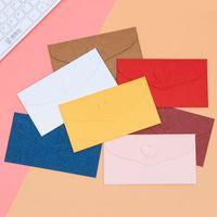 Wholesale korean invitations resale online - Korean Western Kraft paper Romantic Love Button Envelope Invitation Bag Coloured Decorative Envelope Bag cmx9 cm