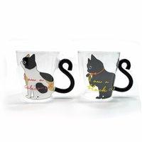 gatito de cafe al por mayor-Creative Cute Cat Kitty Glass Mug, vidrio resistente al calor taza de té Milk Coffee Cup, Home Office Cup, Water Milk Coffee Mug Drinkware