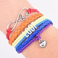 jóias infinitas para amizade venda por atacado-Orgulho Gay LGBT Rainbow Pulseiras Infinito Amor Wrap Multilayer Bangle Amizade Presentes Encantos Do Casamento Jóias Pessoais Atacado DHL