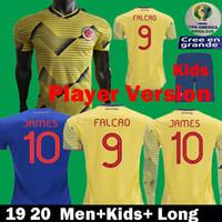 maillots de football américain achat en gros de-2019 Joueur Vertion Colombia Maillots de football Copa America 19 20 Kits Enfants Colombie Prix Uniformes Camiseta futbol JAMES FALCAO 2020