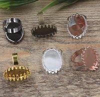 anillo de ajuste de bisel ovalado al por mayor-10 unids Fit 13 * 18mm DIY Cobre metal oval anillo del dedo base de plata de oro rosa en blanco anillo de ajuste de la joyería bisel bandeja diy hallazgos artesanía ornamento