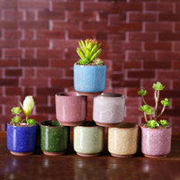 Wholesale flower pots for decoration resale online - Ice Cracked Mini Ceramic Flower Pot Colorful Cute Flowerpot For Desktop Decoration Meaty Potted Plants Planters MMA1631