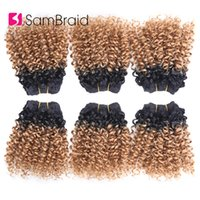 mezcla de cabello tejido al por mayor-Extensiones SAMBRAID 3 lotes de 8 pulgadas corto Afro rizado pelo rizado mezclado pelo teje tramas sintéticas Ombre