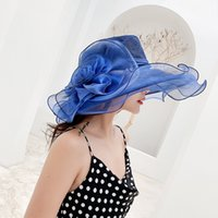 Wholesale women hat organza derby church sun for sale - Group buy Women Kentucky Derby Sun Hat Wide Brim Wedding Tea Party Church Organza Hats