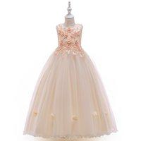 akşam uzun çocuklar giydir toptan satış-Zarif Örgün Elbise Kız Giyim Çiçek Kız Düğün Akşam Elbise Çocuklar Kızlar Için Elbiseler Prenses Parti Uzun GownMX190823