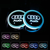 Wholesale lighting coasters resale online - Audi Sline S Line A3 A4 A5 A6 A7 A8 Q3 Q5 Q7 S3 S4 S5 S6 S7 S8 Car Led Shiny Water Cup Pad Groove Mat Luminous Coasters Atmosphere Light