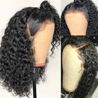 pelucas delanteras del cordón parte humana al por mayor-Bob Lace Front Wig 13X6 Deep Part 180% PrePlucked Brasileño Corto Rizado Cierre Frontal Pelucas de Cabello Humano Para Mujeres Negras Remy