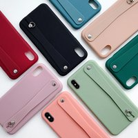 Wholesale wrist straps for cell phones resale online - For Iphone xs max xr x s plus cell phone case cover macaroon candy colors with wrist strap holder kickstands