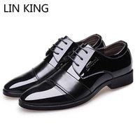 ingrosso lin uomini-LIN KING Men Oxfords Scarpe in pelle British Black Dress Scarpe fatte a mano Confortevole uomo Square Heel Lace-Up Casual formale