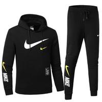 erkekler renk takımları toptan satış-Erkek Spor Basit Kapüşonlu İpli Pantolon Cepler Düz Renk Minimalist Stil İki parçalı Takım