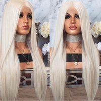 Wholesale long blonde silky straight wig for sale - Group buy Heat Resistant Hair Platinum Blonde Glueless Synthetic Lace Front Wig For Women Long Silky Straight Lace Wig with Baby Hair