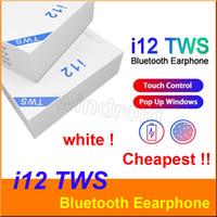 gerçek bluetooth toptan satış-I12 TWS V5.0 Dokunmatik Pop up Pencere ile Dokunmatik Gerçek Kulaklıklar Kablosuz Stereo Kulaklıklar Dokunmatik Kontrol Kablosuz Kulaklık i12 TWS telefonu için Kulakiçi