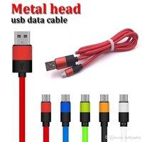 dhl huawei toptan satış-hızlı DHL shiping oppo samsung Huawei kablo kablosu şarj metal başı 1m 3 ft 2.4A ile OD4.5 USB senkron veri kablosu
