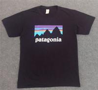 3xl camisas para mujer al por mayor-Cutton Crew Neck Camisetas Landscape Print PATAGONIA Mens Skateboard Camisetas Moda Marca Mujeres Casual Camisetas Tops Amantes Ropa
