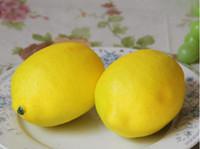 decorações de limão venda por atacado-Mini Amarelo Artificial Faux Lemon Simulação De Plástico Frutas Sala de estar Decoração de Casa Decoração de Mesa Ornamento Decorativo