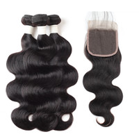 Wholesale burgundy remy human hair weave for sale - Group buy 9A Body Wave Deep Wave Straight Water Wave Human Hair Bundles with Closure Bundles with Lace Closure inch Remy Human Hair Extensions