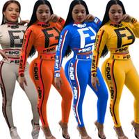 calças de impressão de zebra venda por atacado-Mulheres Primavera 2 Peça Outfits F Letra Estrela Impresso Manga Longa Treino Moletom Calças Conjuntos Colheita Top T-shirt Street Suit S-3XL 2019 A3192