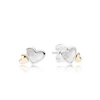6f52e47290ef Auténticos pendientes de plata 925 con forma de corazón y corazón blanco  para Pandora CZ Diamond Wedding 14K Gold Earring con estuche original.