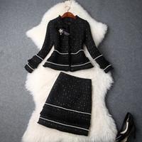 trajes de falda de dos piezas para las mujeres al por mayor-Nueva manera de la caída de la chaqueta arco rebordeado de las mujeres de invierno gruesa Tweed borlas mini juegos de falda de la oficina de señora Dos conjuntos de piezas