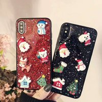 Wholesale santa claus glitter online - Popular Christmas Glitter Bling Case D Epoxy TPU Back Cover Cute Santa Claus Elk Shockproof for iPhone X XS MAX XR