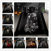 Wholesale queen skull bedding resale online - 3D Women And Skull Bedding Sets Sugar Black Skull Halloween Style Bed Sheet Linen Cotton Blend Flower Skull Duvet Cover Set Y200417