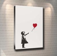 lienzo plateado al por mayor-(Sin marco / Enmarcado) Silver Girl with Balloons, 1 Pieces Canvas Prints Arte de la pared Pintura al óleo Decoración para el hogar 24X36.