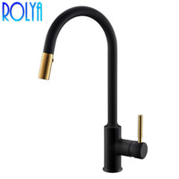 ROLYA New Arrival Brushed Golden pull out Kitchen Sink Faucet Black Longreach Kitchen Mixer Tap Pullout