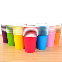 copos coloridos venda por atacado-250 ml copos de papel descartável canecas de papel colorido para o aniversário de verão acessórios de mesa de festa de jardim frete grátis