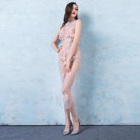 sexy modelos desnudas al por mayor-Perspectiva sexy Ranuras altas Vestido de noche rosa encantador Mujer Vestido de noche de discoteca Desnudo Fiesta Modelo de encaje femenino