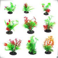 Wholesale aquatic decor resale online - Aquarium Landscaping Aquatic Green Plasitc Artificial Flower Home Party Decor Supplies Simulation Grasses Hot Sale