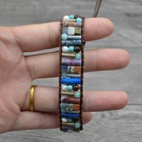 Wholesale women semi precious stone bracelet for sale - Group buy Drop Shipping Women Boho Bracelet Tube Shape Natural Stone Single Leather Wrap Bracelet Semi Precious Stone Beaded Bracelet