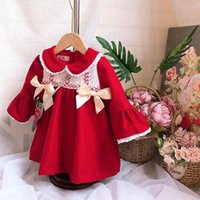 Wholesale wool baby clothes dresses resale online - baby girl clothing dress Spain Style boutique Long Sleeve Wool Red Color Bow Design girl dress Fall Winter clothes dress