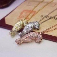 takı sapı toptan satış-Shining Prong Ayar Kübik Zirkonya Kristal Kolye Zincir Gerdanlık Gül Altın Renk Kadın Leopar Takı