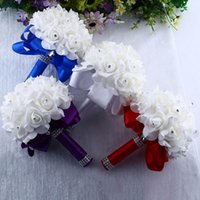Wholesale bridal artificial bouquets for sale - Group buy Crystal Roses Pearl Bridesmaid Wedding Bouquet Bridal Artificial Silk Flowers HOME