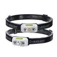 ingrosso batteria al litio-Torcia a LED Torcia a prova di acqua Lampada a testa ultraleggera per escursionismo Campeggio Notte Pesca USB Batteria al litio integrata Luci lanterna 42g