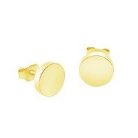 discos redondos de acero inoxidable al por mayor-Minimalista Pendientes redondos para hombres Pendientes de botón de acero inoxidable de oro rosa plateado Bijoux Femme pendientes mujer moda 2018 Bff
