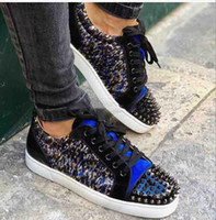 leopar desenli spor ayakkabıları toptan satış-Blue Veau Velours Men Shoes Low Cut Red Bottom Sneakers Junior Spikes Orlato Leopard-printed Silver spikes Couple's Casual Walking Skateboar