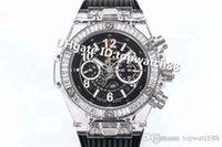 relojes automáticos negro big bang al por mayor-HB fábrica BIG BANG 411.JX.4802.RT reloj suizo 1242 plexiglás caja de zafiro automático calada Dial Diamond Bisel correa de caucho Negro