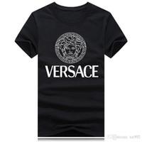 halbe hülsent-shirts für männer großhandel-Sommer mercerisiertes Baumwoll-Herren-Kurzarm-T-Shirt mit Rundhalsausschnitt und Trend-Baumwoll-Baumwoll-Herrenhemd