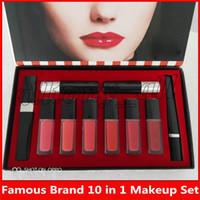 ingrosso matita del rossetto di marca-marchio famoso trucco di bellezza Set 10 in 1 set lipgloss + Matte Lipstick + Mascara + Eyeliner pencil 10 In 1 Kit